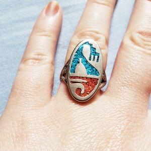 Vintage Hopi Native American Multi Stone Ring